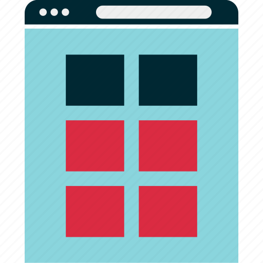 browser, gallery, grid, mockup, view, website, wireframe icon