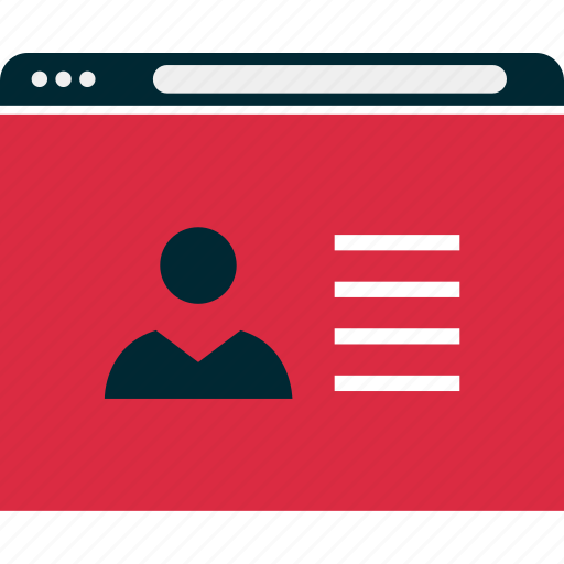 browser, mockup, person, profile, website, wireframe icon