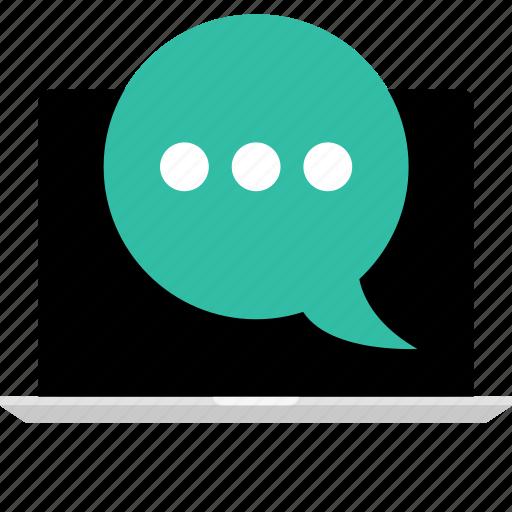 chat, internet, laptop, online, web icon