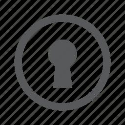 access, door, key, keyhole, lock, password icon