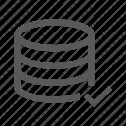 check, data, database, server, system, tick, valid icon