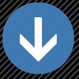 arrow, direction, down, gps, location, move, navigation icon