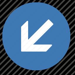 arrow, direction, down, gps, left, location, navigation icon