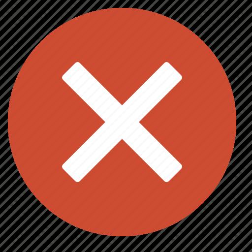 cancel, close, cross, delete, error, remove, warning icon