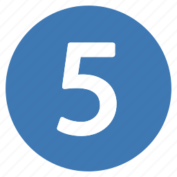 five, number, numbers, pro icon