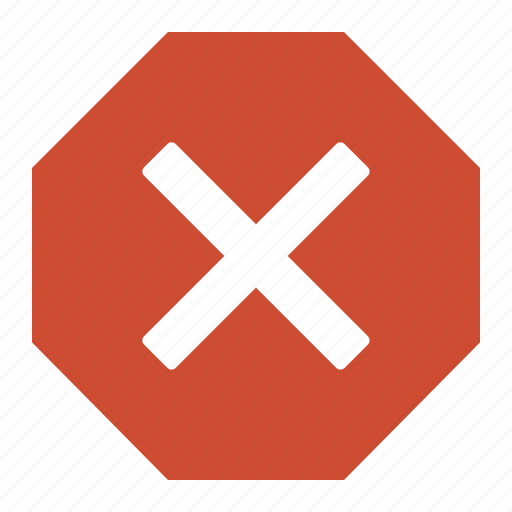 cancel, cross, delete, forbidden, octogonal, red, stop icon