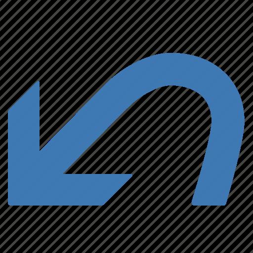 blue, command, previous, undo icon