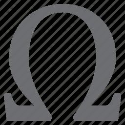 alphabet, formula, greek, math, omega, sign, symbols icon
