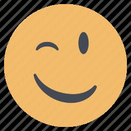 emoji, emoticon, emotion, expression, face, smiley, wink icon