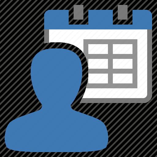 calendar, management, schedule, user icon