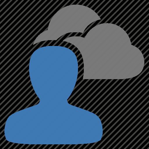 cloud, data, management, storage, user icon