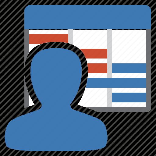 diagram, gantt, management, planning, progression, schedule, user icon
