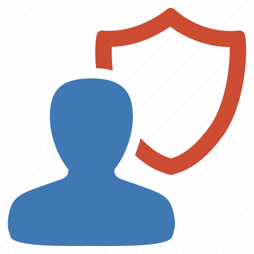management, protection, security, shield, user icon