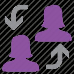 change, management, swap, user, woman icon