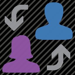 change, man, management, swap, user, woman icon