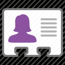 card, id, identification, identity, management, user, woman icon