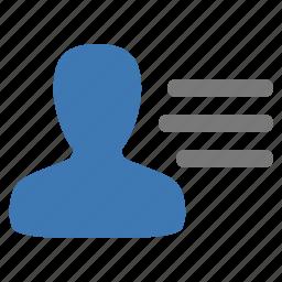management, menu, user icon