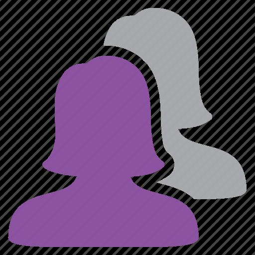 greyed, management, users, women icon