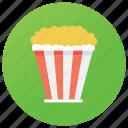 bucket, cinema snack, edible corn, entertainment food, junk food, popcorn icon