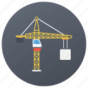 crane, material lifter, pulley crane, tower crane, weight lifter icon