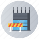 barre gate, entrance exit, road barrier, security barrier, traffic barrier icon