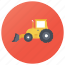 bulldozer, construction vehicle, earth mover, excavator, loader truck, wheel loader icon