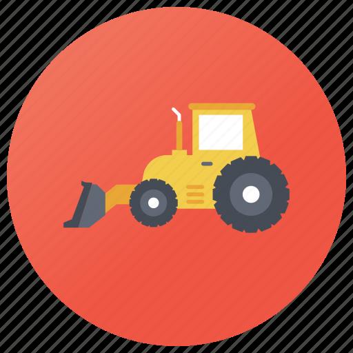bulldozer, construction vehicle, earth mover, excavator, loader truck, wheel loader icon