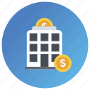 bank, credit union, finance house, financial building, financial center, financial institution, treasury home icon