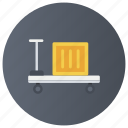 hand cart, hand truck, loader trolley, luggage cart, pushing cart, wheelbarrow icon