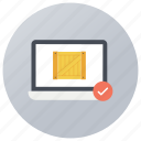 approved parcel, checked package, online verification, tested pack, verified parcel icon