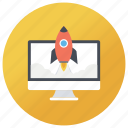 blastoff, introduction, launch, product launch, publish, rocket launch, start up icon