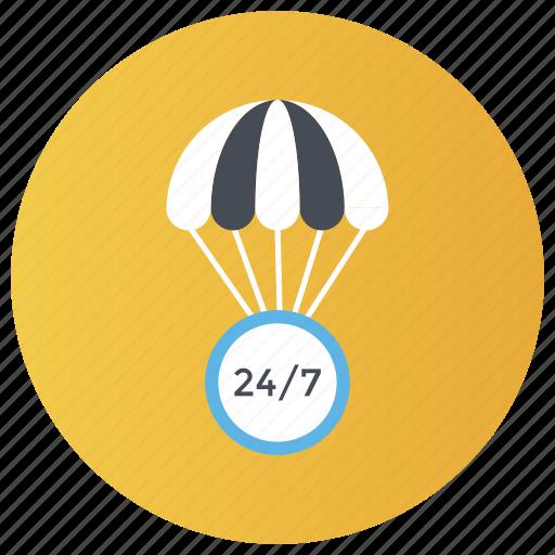 24/7 services, advecture, air balloon, fire balloon, hot balloon icon