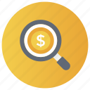 business analysis, business finance, business monitoring, business search, finance search icon