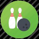 bowling pins, candlepins, ninepins, skittles, tenpins bowling, tenpins with ball icon