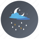 cloudy night, cloudy weather, forecast, night time, overcast icon