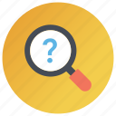 analyzing, problem identification, problem solution, query, searching, solve problem icon