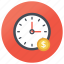 economic affairs, efficiency, money management, punctuality, time importance, time is money icon