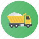 dump truck, garbage truck, rubbish truck, trash bin, waste disposal icon