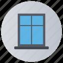 aperture, exit frame, framework with pane, interior, window icon