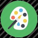 artist pallet, color pallet, colour plate, drawing equipment, paint pallet, pallet brush icon