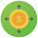 available funds, cash flow, investment, money flow, stock in trade icon