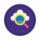 cloud, computing, data, find, network, search, storage icon
