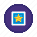 achievement, badge, page, quality, recognition, reward, star icon