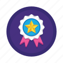 achievement, award, badge, medal, page, rank, ribbon icon
