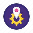 cog, gear, marker, optimizations, performance, pin, places icon