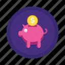 investment, on, piggy bank, return, return on investment, roi, savings icon