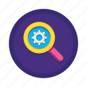 engine, magnifying, optimization, options, preferences, search, settings icon