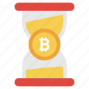 bitcoin hourglass, business time, earn money, save time, time is money icon
