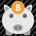 bitcoin piggy, dollar keeping, money savings, piggy bank, piggy box icon