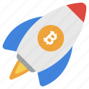 bitcoin business, bitcoin launching, bitcoin startup, cryptocurrency rocket, cryptocurrency startup icon